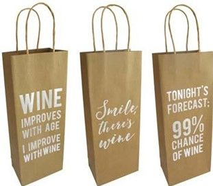 GIFT BAG WINE KRAFT FOIL PRINT 3ASST
