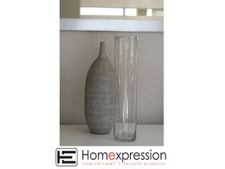 CYLINDER GLASS VASE 35CM