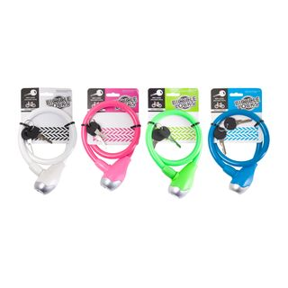 BICYCLE CABLE LOCK 65CM 4ASSORTED