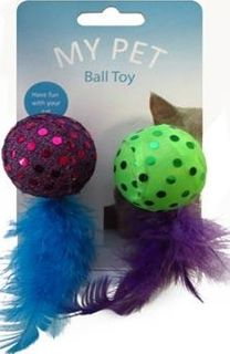 CAT FEATHER BALL TOY 12CM