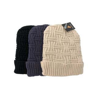 CABLE KNIT PATTERN HAT (LINED) 22X23CM