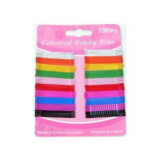 BOBBY PINS COLOURED 45MM 100PK (12)
