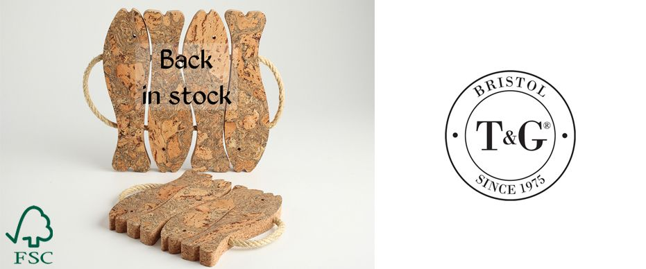 T&G Woodware sustainable cork fish pot stands