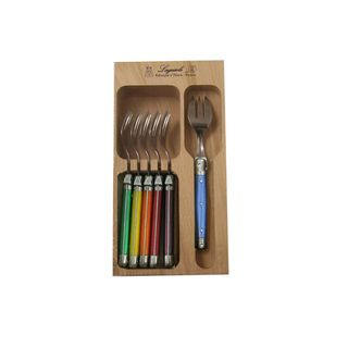 VERDIER CAKE FORKS SET 6 COLOURED