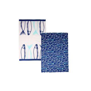 DEXAM Fish Set of 2 Teatowels Marine Blue