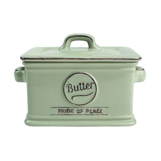 PRIDE OF PLACE GREEN BUTTER DISH
