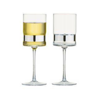 ANTON STUDIO SOHO WINE GLASS SILVER SET2