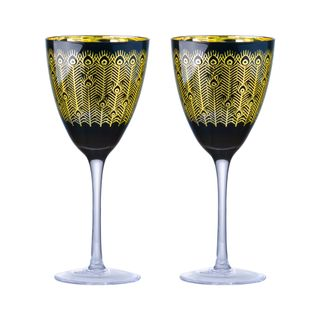 ARTLAND MIDNIGHT PEACOCK WINE GLASS SET 2