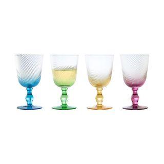 ASD SWIRL WINE GLASS MIXED SET OF 4