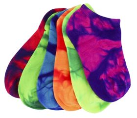 Sof Sole Lite No Show Socks Fluro Tie Dye 6pr Kids 10-4.5***