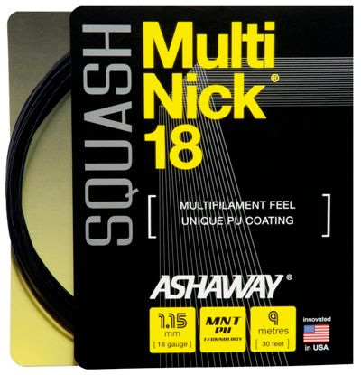 Ashaway MultiNick 18g Black Squash String Set 9m***