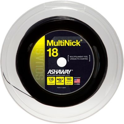 Ashaway MultiNick 18g Black Squash String Reel 110m***