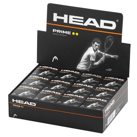 HEAD Prime Double Yellow Dot Squash Ball Dozen