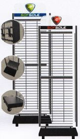 "Sof Sole 2 side Display Rack 18"" wide c/w Hooks & Basket"