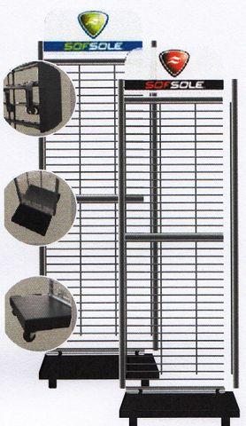 "Sof Sole 2 side Display Rack 18"" wide c/w Hooks & Basket"