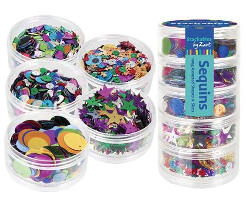 Sequins assorted in stackable containers