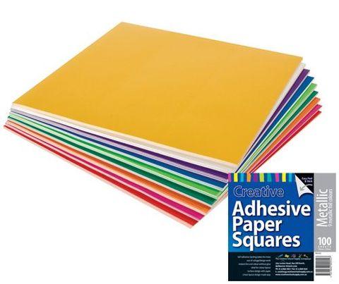 Adhesive Paper Squares Metallic 100s