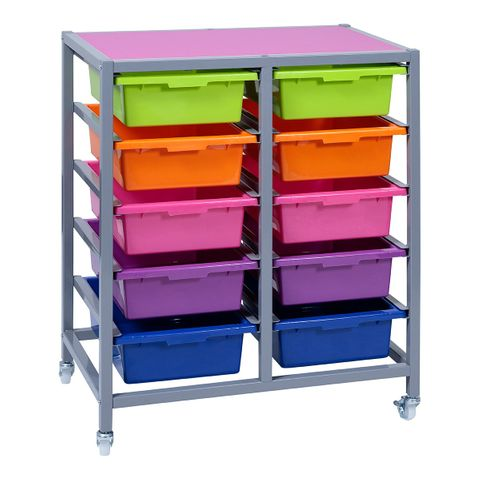 Double Tote Tray Trolley