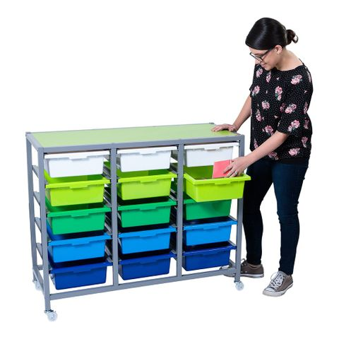Triple Tote Tray Trolley