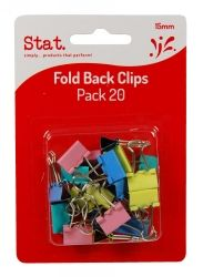 Clips foldback 15mm assorted colours