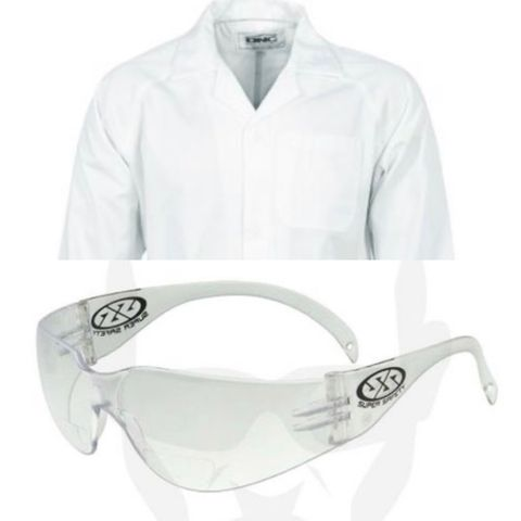 Laboratory coat (Med) & glasses bundle