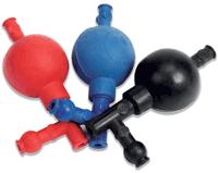 Pipette filler rubber bulb 3 valve Black
