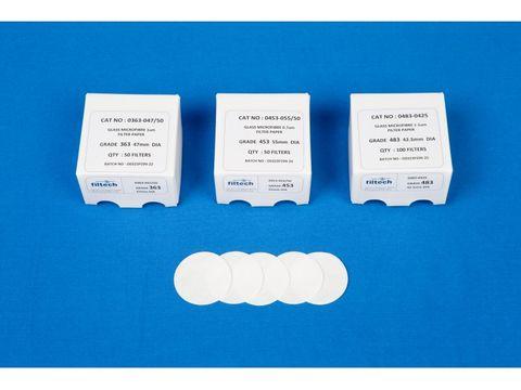 Filter paper glass fibre 1.0um 125mm slw
