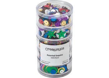 Sequins in stackable container