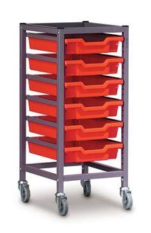 Trolley single column 6 F1 tray 850mm