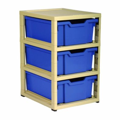Gratnells Gratstack Single, 3 Deep trays