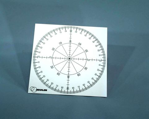 Light box circular scale for ray angles