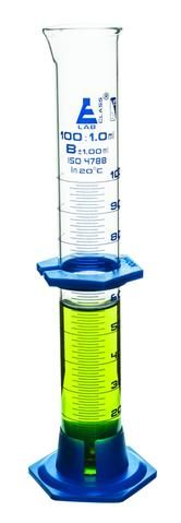 Measuring cylinder glass PP base 100ml