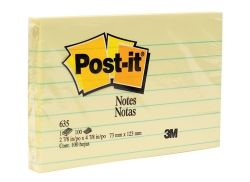 Post-it notes lined yellow 73x123mm