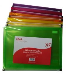 Document wallet Stat A4 w/zip assorted