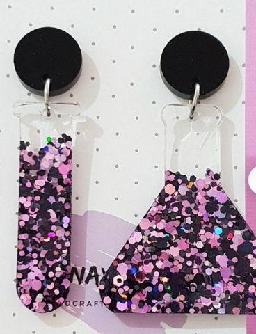 Dangle earrings sparkle pink and black