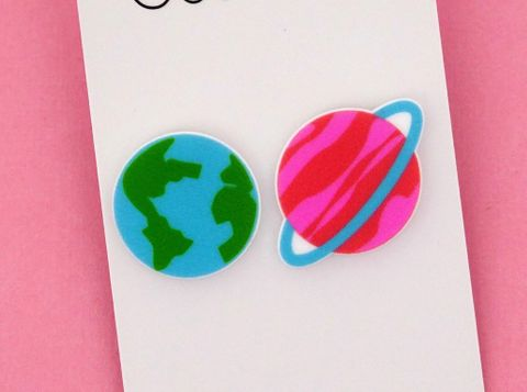 Studded earrings moon and planet