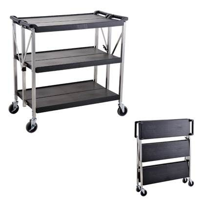 Trolley folding 3 shelves 940mm high