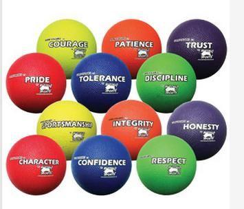 Rubber Playground Balls Core Values Set
