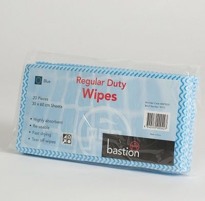 Wipes regular duty 30x60cm Blue pkt/20