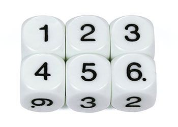 Dice 6 numbered faces 16mm