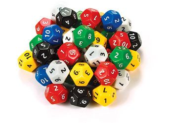Dice 12 numbered faces Jumbo 32mm