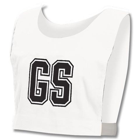 Netball Bibs - Whi/Blk Letters