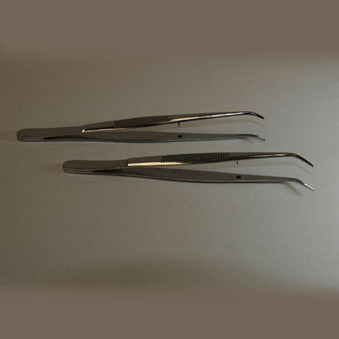 Forceps microscopic angled 100mm