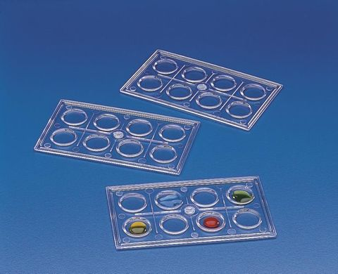 Colorimetric tray 8 wells clear PS