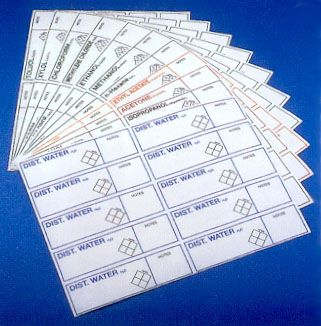 Labels clear 'Methylene chloride' 130x35