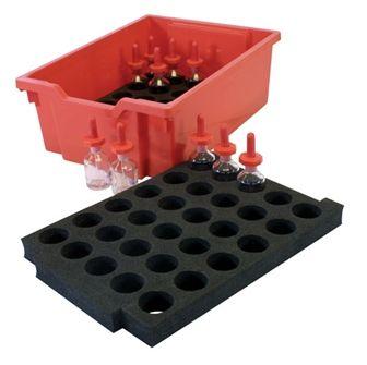 Foam insert holds 30 bottles 48mm dia.