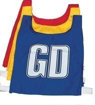 Netball Bibs - Red/Royal Letters