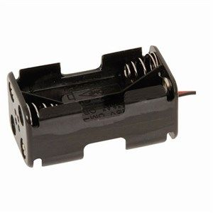 Battery holder square with leads 4xAA