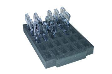 Foam insert holds 30 pairs of glasses