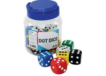 Dice 6 face dot 25mm in jar pkt 16
